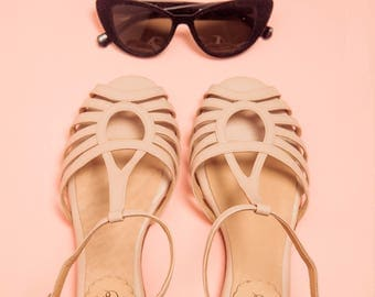 Bianca Nude - Leather flat sandal in nude. Handmade in Argentina - Free shipping