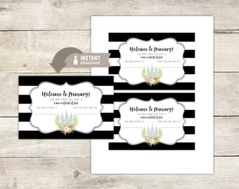 Instant-Download - 2018 LDS Primary Theme - 4 x 6 Welcome to Primary Card  - Modern Black & White Stripe Design