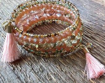 Wrap Bracelet, Peach Pink Bracelet, Beaded Bracelet, Crystal Bracelet, Memory Bracelet, Tassel Bracelet, Bohemian Jewelry