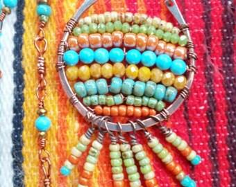 Beaded Necklace, Boho Necklace, Fringe Necklace, Copper Necklace, Long Necklace, Layering Necklace, Boho Jewelry, Bohemian Jewelry