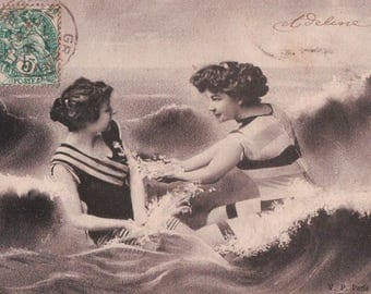 1903 Bathing Beauties antique French postcard – women on beach in bathing suits