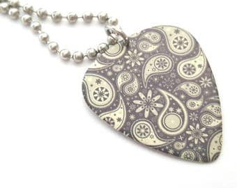 Grey Paisley Design Guitar Pick Necklace with Stainless Steel Ball Chain