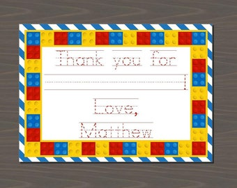 Lego Invitations, Lego Thank You Notes, Lego Stationery Set, Legos Thank You, Legos Invitations | Digital or Print | Colorful Blocks Cards