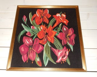 Swedish hand woven wall hanging / flemish /  flowers / 1970s