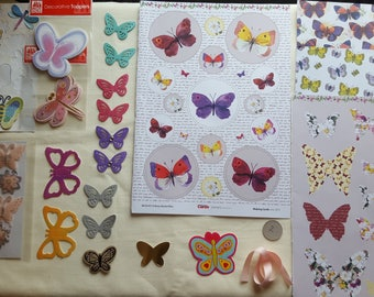 Butterfly Collage Pack 2 ephemera die cuts paper Inspiration pack for junk journals scrapbook cardmaking feathers flowers