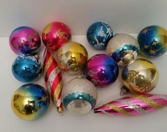 Vintage Christmas Bulbs 1950s Blown Glass Christmas Tree Ornaments Lot of 13 Bulbs Colorful Glitter Sparkly Christmas Tree Decor Shiny Brite