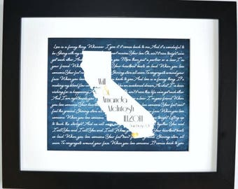 Personalized bridal shower gift for bride custom wedding gift for couple gift for engagement, gifts for couple gift for husband, any state