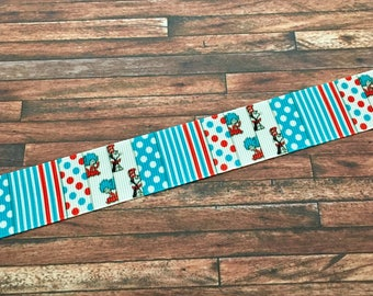 Dr. Seuss Ribbon-Cat in the Hat Ribbon-Cute Dr. Seuss Ribbon-Dr. Seuss Craft Supplies-Dr. Seuss Bow Supplies-Dr. Seuss Week Bow Supplies