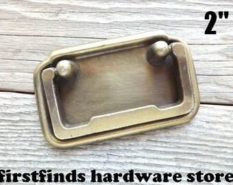 Campaign Dresser Drawer Swing Handles Vintage Metal Cupboard Furniture Pulls Cabinet Hardware Gold Brass Original 2inch ITEM DETAIL BELOW