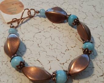 Copper and Aqua Marine beaded bracelet
