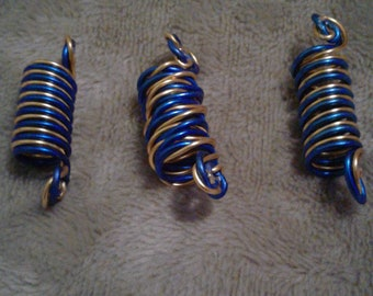 blue and gold colored wire Loc Loopies. dreadlock jewelry, loc jewelry, braid, hair accessories, dread beads, loc/hair coils.