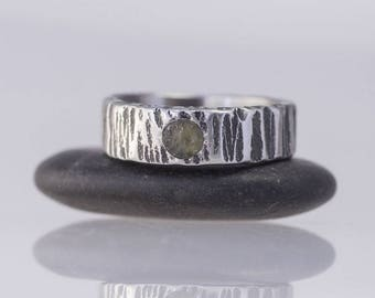 MOLDAVITE stainless steel WEDDING band, Womens, Mens bark hammered band, HANDMADE simple stone band for him, for her - Wood with a moldavite