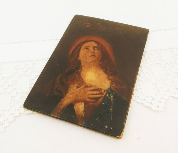 Antique Hand Painted Copy of Original Mary Magdalene by 17th Century Italian Artist Guido Reni, Oil on Board Painting, Religious Picture