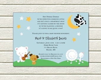Hey Diddle Diddle Invitation | Baby Shower | Printable Editable Digital PDF File | Instant Download | BSI403DIY