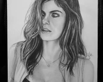 Original Sketch of Alexandra Daddario (NOT a print)