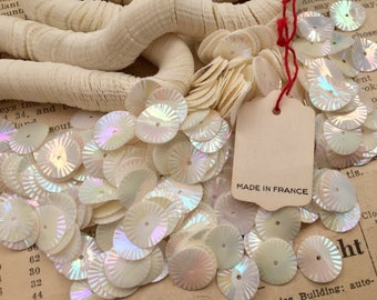 Vintage Fancy Round Wave Sequins - Creamy White AB - Fluted, Ruffled - Loose Paillettes, Sew Ons, Trims - 10 mm - Made in France - Qty 50