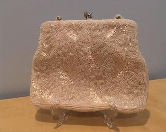 Vintage White Beaded Purse- Wedding Accessory