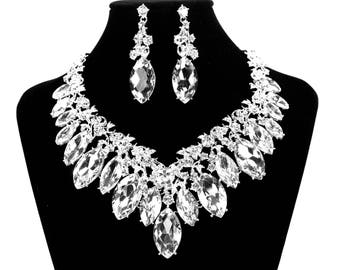 SALE Bridal Statement Necklace, Crystal Bridal Necklace Set, Crystal Wedding Necklace, Crystal Evening Necklace  ~ E 60