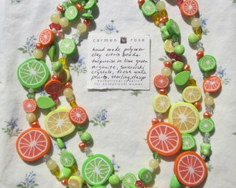 Handmade Carmen Rose 3 Strand Summer Citrus Pearl Necklace Sterling Clasp Fun!