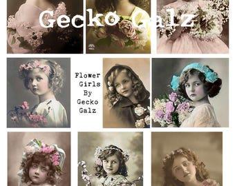 Flower Girls Digital Collage sheet