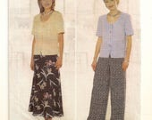"A Short Sleeve, U-Neckline Peplum Top, A-Line Skirt & Wide Leg Pants Pattern for Women: Uncut - Sizes 14-16-18 Bust 36""-40"" ~ Butterick 5423"