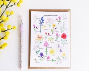 British Wildflowers Postcard - Watercolour Flower Print - Wildflower Illustration - British Nature Print - Floral Print - Botanical Print