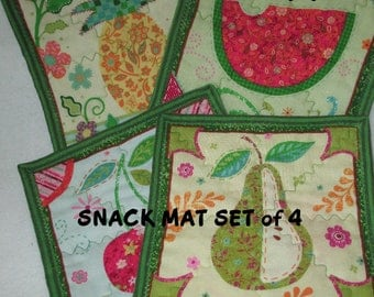 MUG MATS, FRUITS, Snack Mats, Quilt, Set of Four,  Home  Décor, Holiday Décor,  Table Décor,  Hostess Gift, Gifts for Women