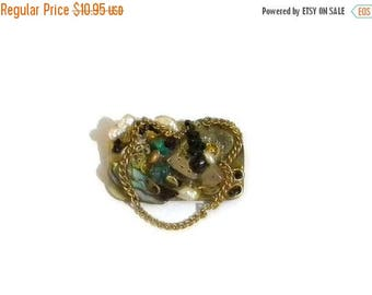 Summer Sale Unique Mixed Media Brooch, Vintage, Abalone, Freshwater Pearls, Chain, Jewelry Parts, Mounted in Resin