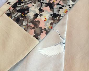 Cranes silk kimono scarf