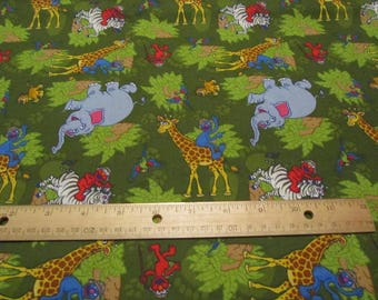 Green Jungle Sesame Street Character Cotton Fabric by the Yard