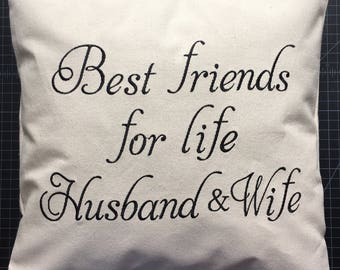 Wedding gift, embroidery pillow cover, wedding pillow cover, bridal shower gift, embroidery pillow, custom pillow, best friend pillow cover