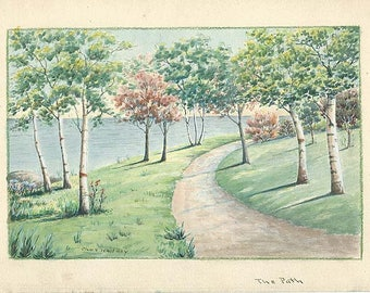 Vintage Original Watercolor Painting THE PATH by Charles Frederick Whitney 1858-1949