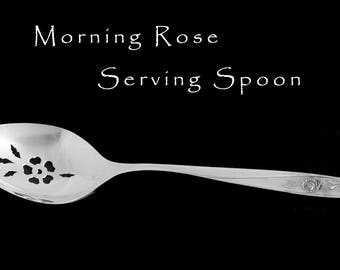 Vintage Silver Plated Pierced Serving Spoon Morning Rose Hostess Housewarming Gift Tea Party Bridal Shower Wedding Decor Floral Silverware