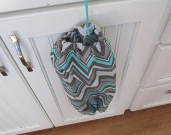 Gray and Teal Chevron Bag Holder