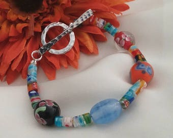 Colorful Millefiori Glass Beaded Bracelet with Toggle Closure