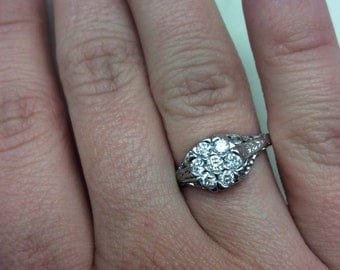 Antique Diamond Engagement Ring in 14k White Gold 7 Stone Cluster