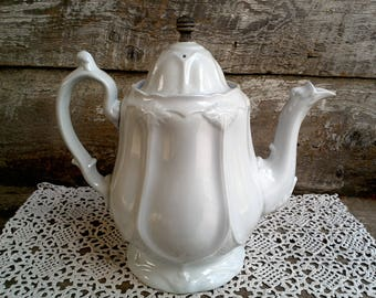 S O L D   -    Antique White Ironstone Tea Pot, J. Edwards, 1853, Serving Tea Pot