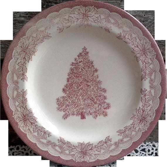 Christmas Dinner Plate, Yuletide, Red Transferware, Staffordshire, Serving, Holiday Plate, Entertaining, Christmas Tree