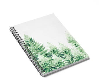Pine Tree Notebook, forest notebook, forest journal, white notebook, tree notebook, spiral notebook, pine tree journal