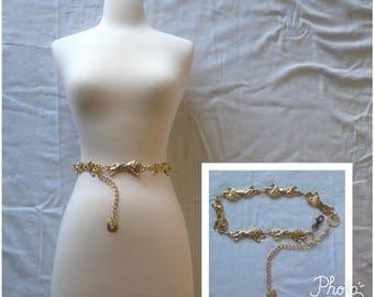 Gold lion chain belt / vintage 1980's Lion belt / adjustable chunky gold belt / Lion's head