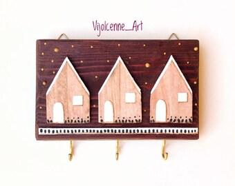 Key Holder, Wall Hooks, Wood Key Holder, Wall Decor, Wall Hanging Key Holder.