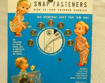 7Vintage Scovill Gripper Brand Snap Fasteners on Card - Size 15, 7 Count Unused