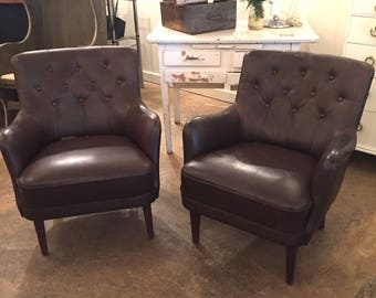 Vintage Pair Danish Leather Chairs