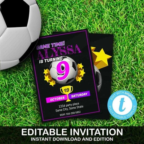 Soccer invite soccer invitation soccer birthday girl soccer party il570xn filmwisefo