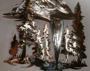 Mountain forest waterfall metal art wall sculpture
