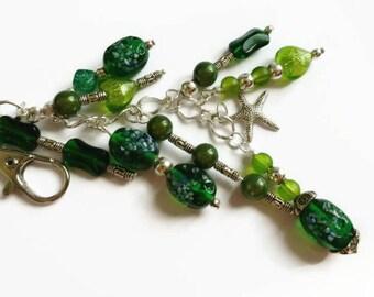 Green key chain charms, detachable key chain, handbag charms, car mirror charms, clip on charms, handbag accessories,beaded key chain