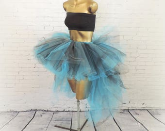 Adult tutu, high low tutu,edc edm rave outfit, electric blue black gray tutu, 80s tutu, halloween costume womens tutu tutuhot tutu hot