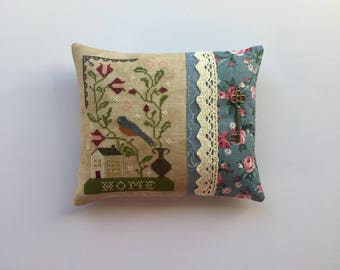 Completed Primitive Cross stitch Bluebird Out of My Window Pincushion, Primitive Pincushion, Primitive Cupboard Tuck, Tuck Pillow