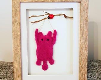 Needle felted art, Hang in there, merino wool, felted box frame, motivational art, mixed media, soft sculpture, Christmas gift, felt art