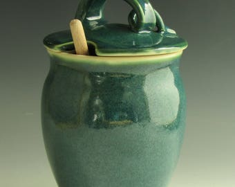 Honey Pot, Pottery Honey Jar, Ceramic Honey Jar, Porcelain Honey jar, Honey Pot, Glossy Blue Green Glaze,  Honey Jar, Honey Dispenser